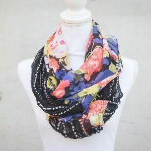 Black Pompom & Floral Patterned Infinity Scarf